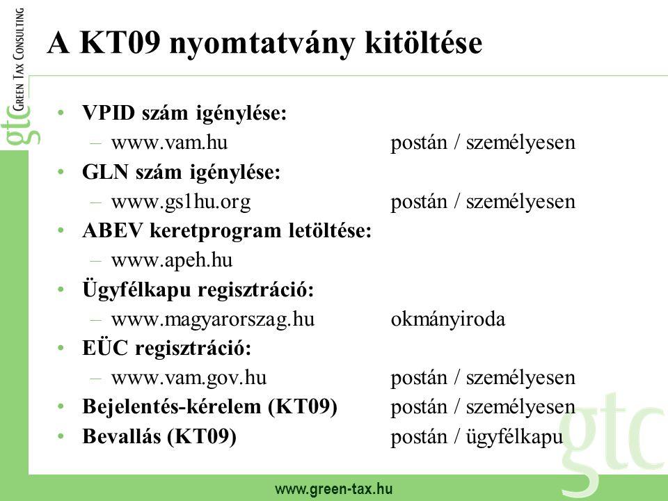 www.green-tax.hu A KT09 nyomtatvány kitöltése VPID szám igénylése: –www.vam.hupostán / személyesen GLN szám igénylése: –www.gs1hu.orgpostán / személye