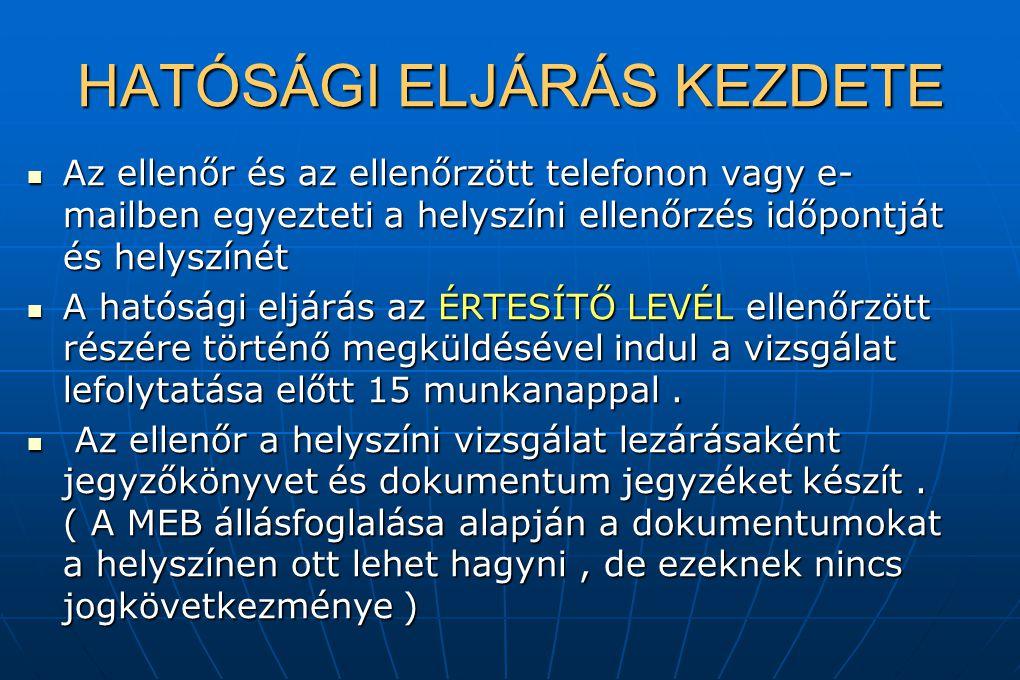 HATÓSÁGI ELJÁRÁS KEZDETE Az ellenőr és az ellenőrzött telefonon vagy e- mailben egyezteti a helyszíni ellenőrzés időpontját és helyszínét Az ellenőr é