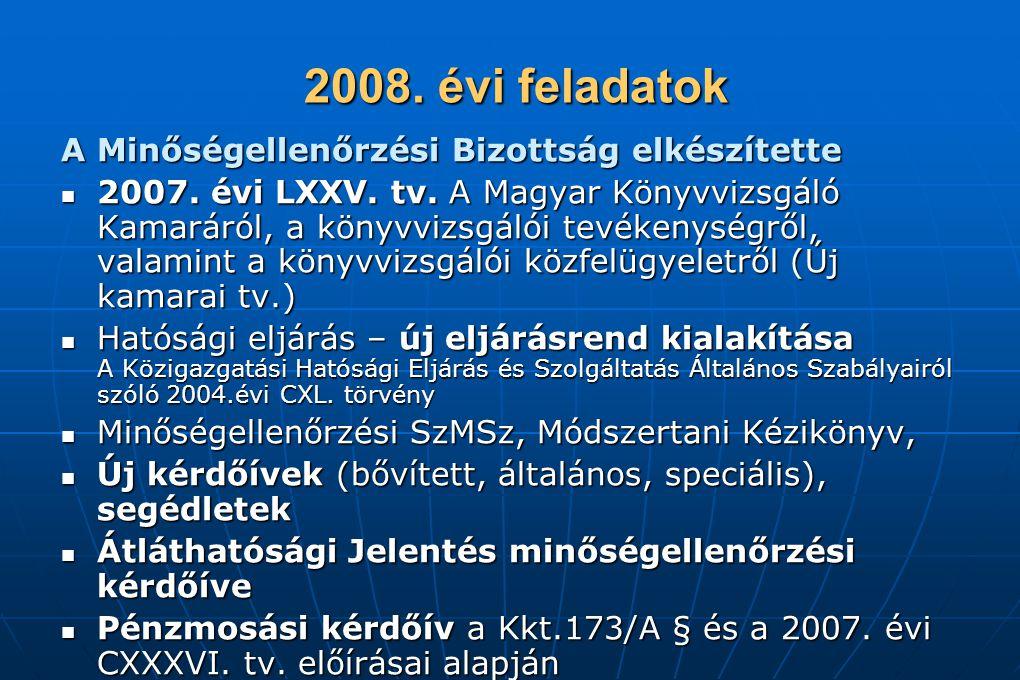 2008. évi feladatok 2008. évi feladatok A Minőségellenőrzési Bizottság elkészítette 2007. évi LXXV. tv. A Magyar Könyvvizsgáló Kamaráról, a könyvvizsg