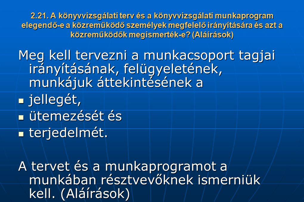2.21. A könyvvizsgálati terv és a könyvvizsgálati munkaprogram elegendő-e a közreműködő személyek megfelelő irányítására és azt a közreműködők megisme