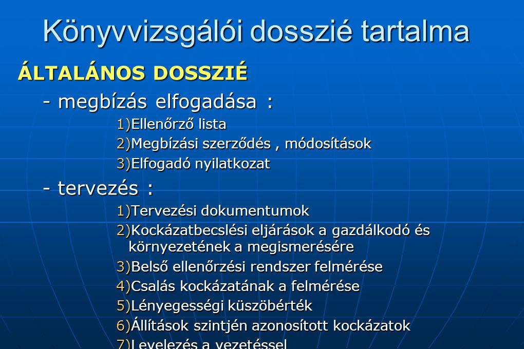 Könyvvizsgálói dosszié tartalma ÁLTALÁNOS DOSSZIÉ - megbízás elfogadása : 1)Ellenőrző lista 2)Megbízási szerződés, módosítások 3)Elfogadó nyilatkozat