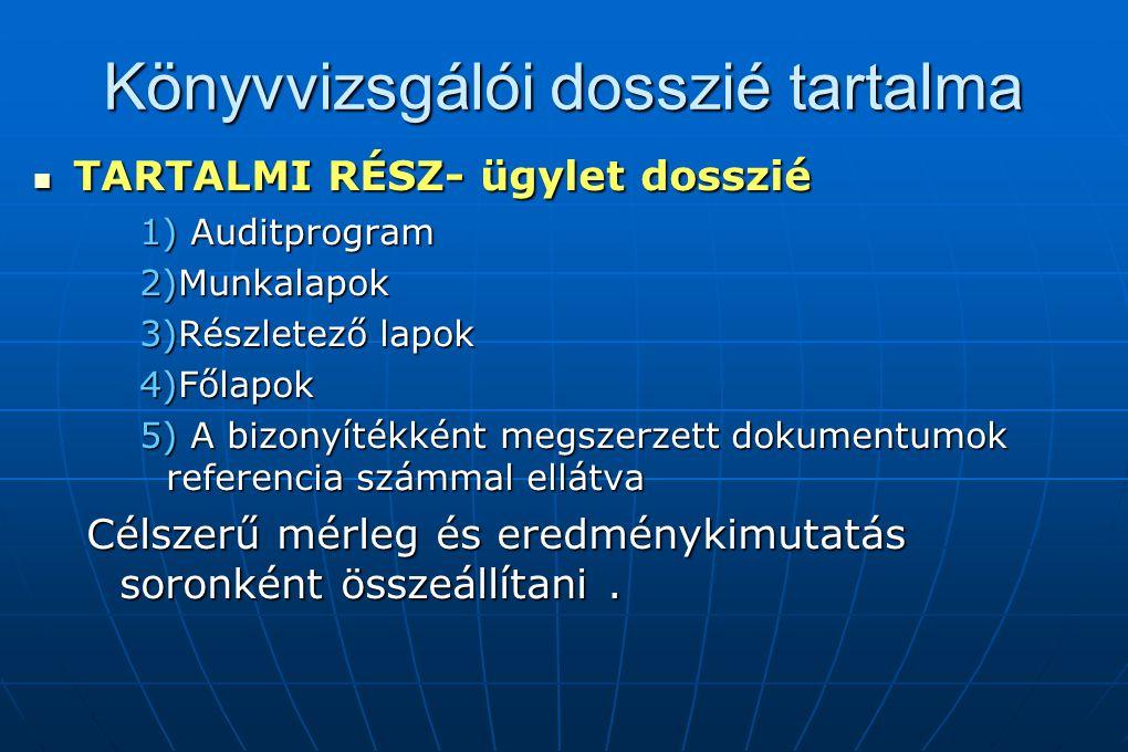 Könyvvizsgálói dosszié tartalma TARTALMI RÉSZ- ügylet dosszié TARTALMI RÉSZ- ügylet dosszié 1) Auditprogram 2)Munkalapok 3)Részletező lapok 4)Főlapok
