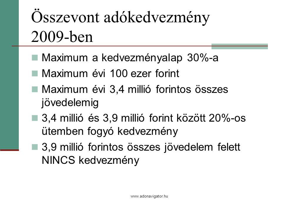 www.adonavigator.hu Összevont adókedvezmény 2009-ben Maximum a kedvezményalap 30%-a Maximum évi 100 ezer forint Maximum évi 3,4 millió forintos összes jövedelemig 3,4 millió és 3,9 millió forint között 20%-os ütemben fogyó kedvezmény 3,9 millió forintos összes jövedelem felett NINCS kedvezmény