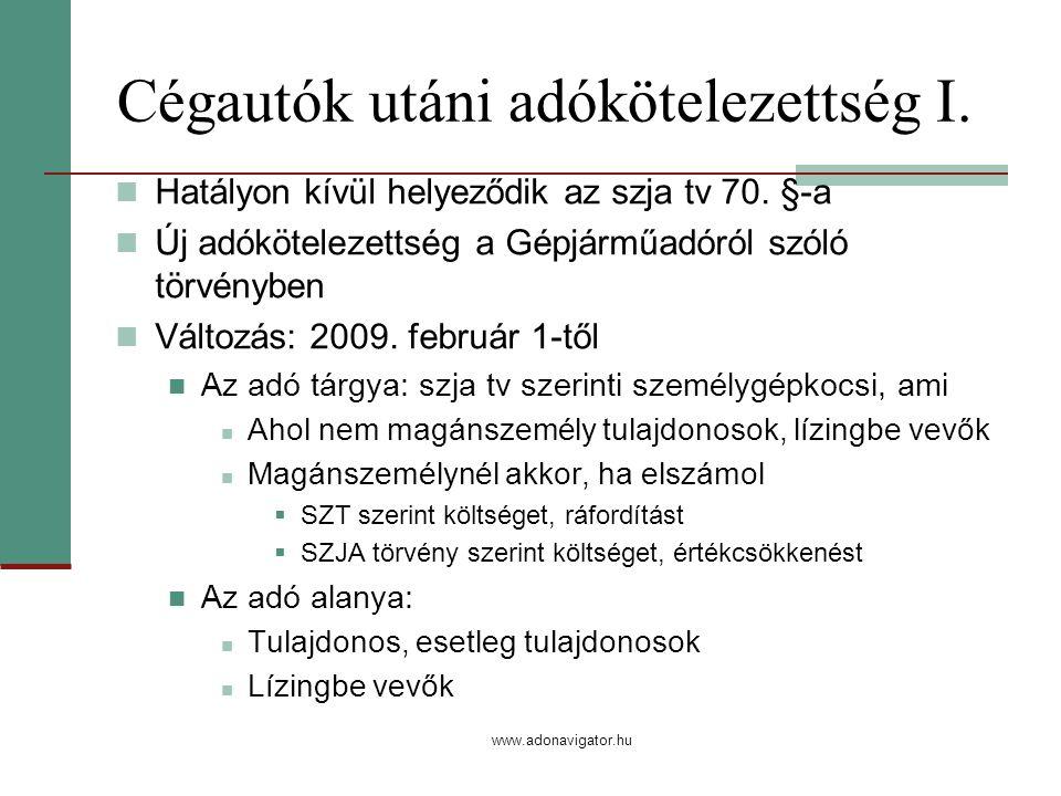 www.adonavigator.hu Cégautók utáni adókötelezettség I.