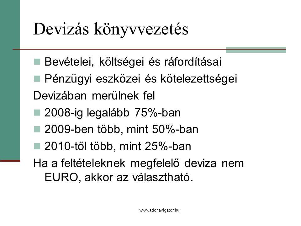 www.adonavigator.hu Devizás könyvvezetés Bevételei, költségei és ráfordításai Pénzügyi eszközei és kötelezettségei Devizában merülnek fel 2008-ig legalább 75%-ban 2009-ben több, mint 50%-ban 2010-től több, mint 25%-ban Ha a feltételeknek megfelelő deviza nem EURO, akkor az választható.