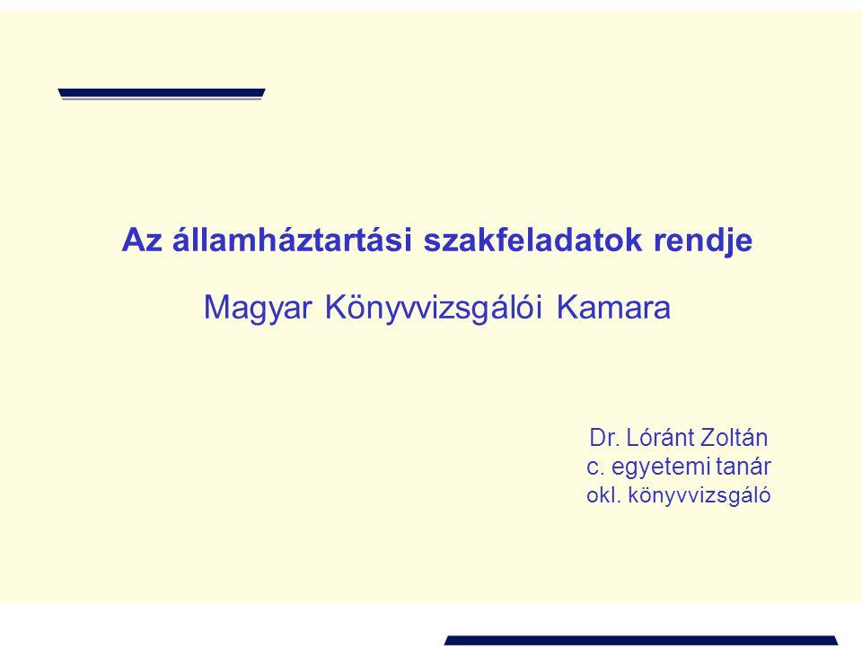 A magyar államháztartás alrendszerei a költségvetési törvényben Helyi önkormányzatok Társadalom- biztosítás Központi költségvetés Elkülönített állami pénzalapok Fejezetek (minisztériumok) Fejezeti előirányzatok Országos hatáskörű szervek ~ 450 költségvetési intézmény Tartalékok 3194 Polgármesteri Hivatal ~2200 helyi kisebbségi önkormányzat ~12500 költségvetési intézmény Non profit szektor ( ~ 75 000: alapítványok, közalapítványok, társadalmi szervezetek, pártok, egyházak)