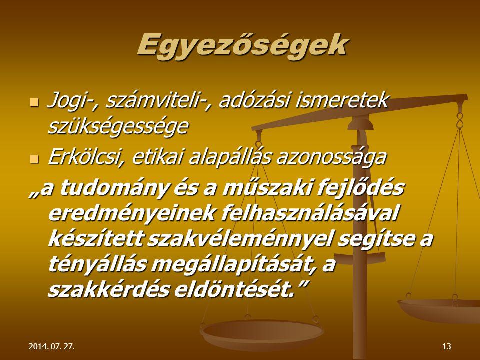 2014. 07. 27.13 Egyezőségek Jogi-, számviteli-, adózási ismeretek szükségessége Jogi-, számviteli-, adózási ismeretek szükségessége Erkölcsi, etikai a