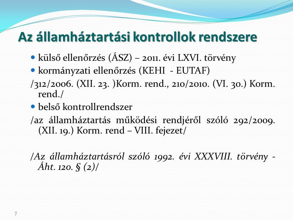 7 Az államháztartási kontrollok rendszere külső ellenőrzés (ÁSZ) – 2011.