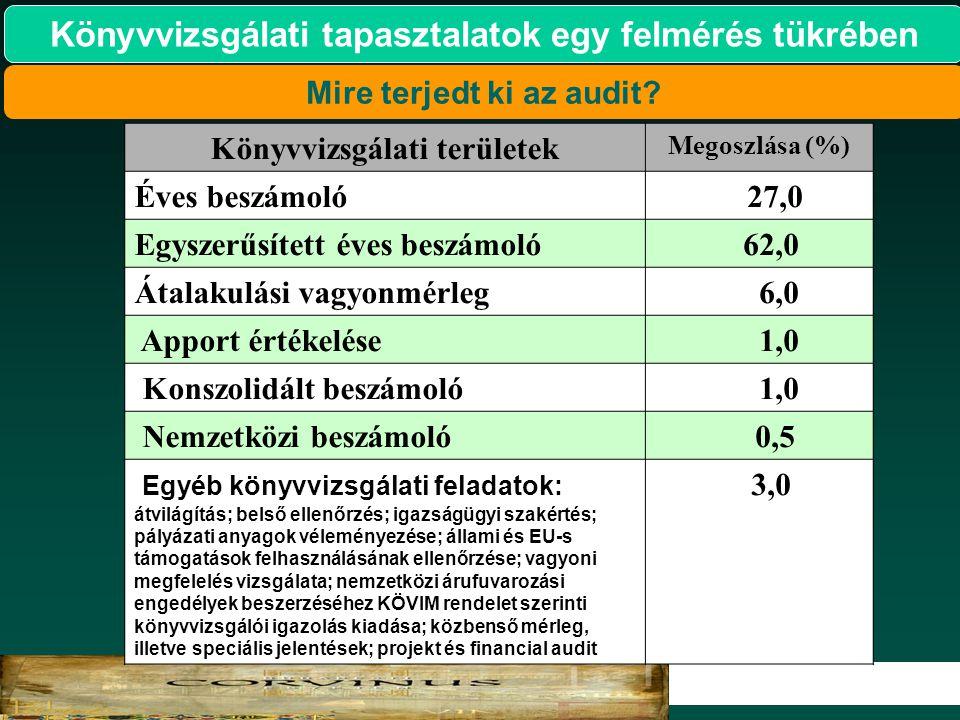 4 2007. Könyvvizsgálati tapasztalatok egy felmérés tükrében Mire terjedt ki az audit? Könyvvizsgálati területek Megoszlása (%) Éves beszámoló 27,0 Egy