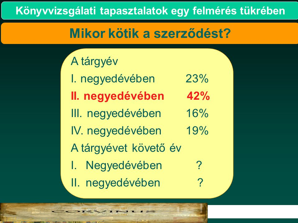 9 2007. Könyvvizsgálati tapasztalatok egy felmérés tükrében A tárgyév I. negyedévében 23% II. negyedévében 42% III. negyedévében 16% IV. negyedévében