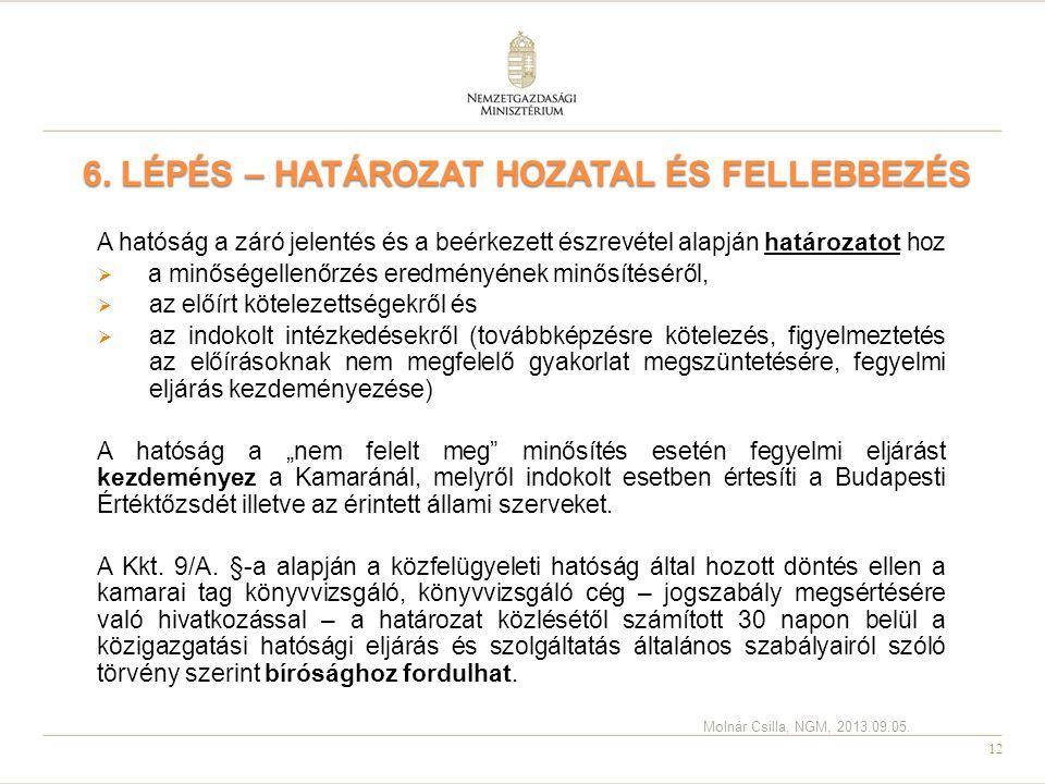12 6. LÉPÉS – HATÁROZAT HOZATAL ÉS FELLEBBEZÉS A hatóság a záró jelentés és a beérkezett észrevétel alapján határozatot hoz  a minőségellenőrzés ered