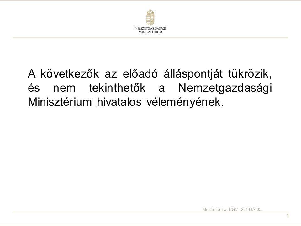 2 A következők az előadó álláspontját tükrözik, és nem tekinthetők a Nemzetgazdasági Minisztérium hivatalos véleményének. Molnár Csilla, NGM, 2013.09.