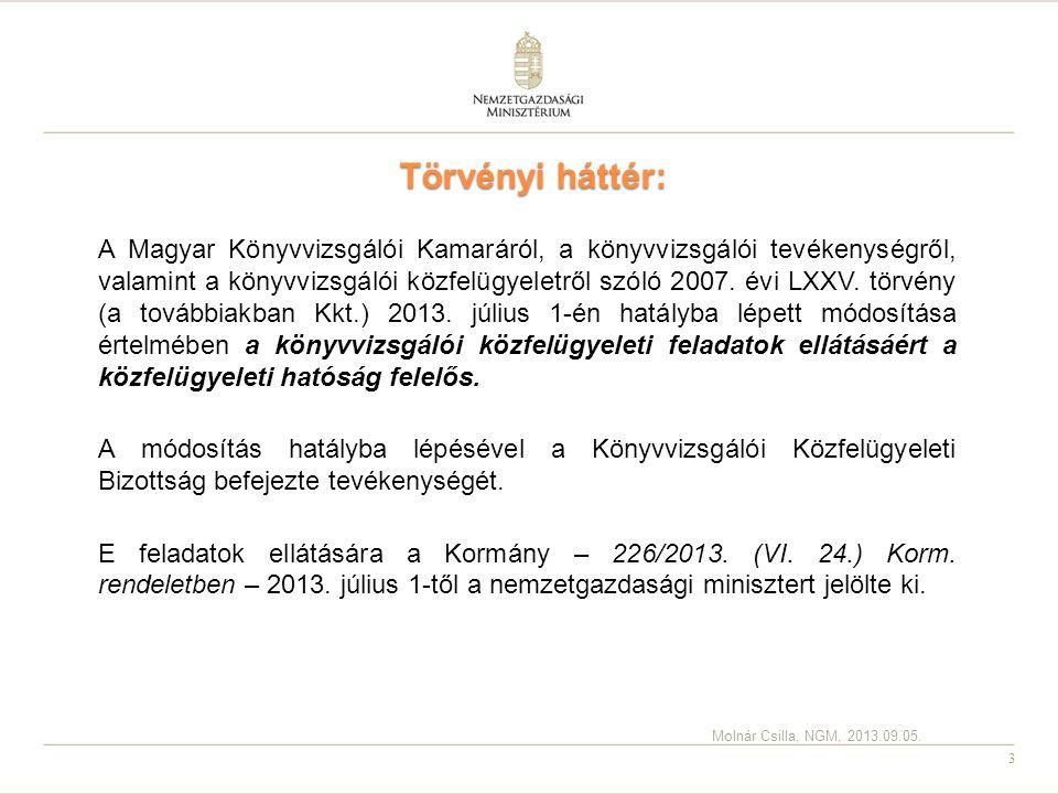 3 Törvényi háttér: A Magyar Könyvvizsgálói Kamaráról, a könyvvizsgálói tevékenységről, valamint a könyvvizsgálói közfelügyeletről szóló 2007. évi LXXV