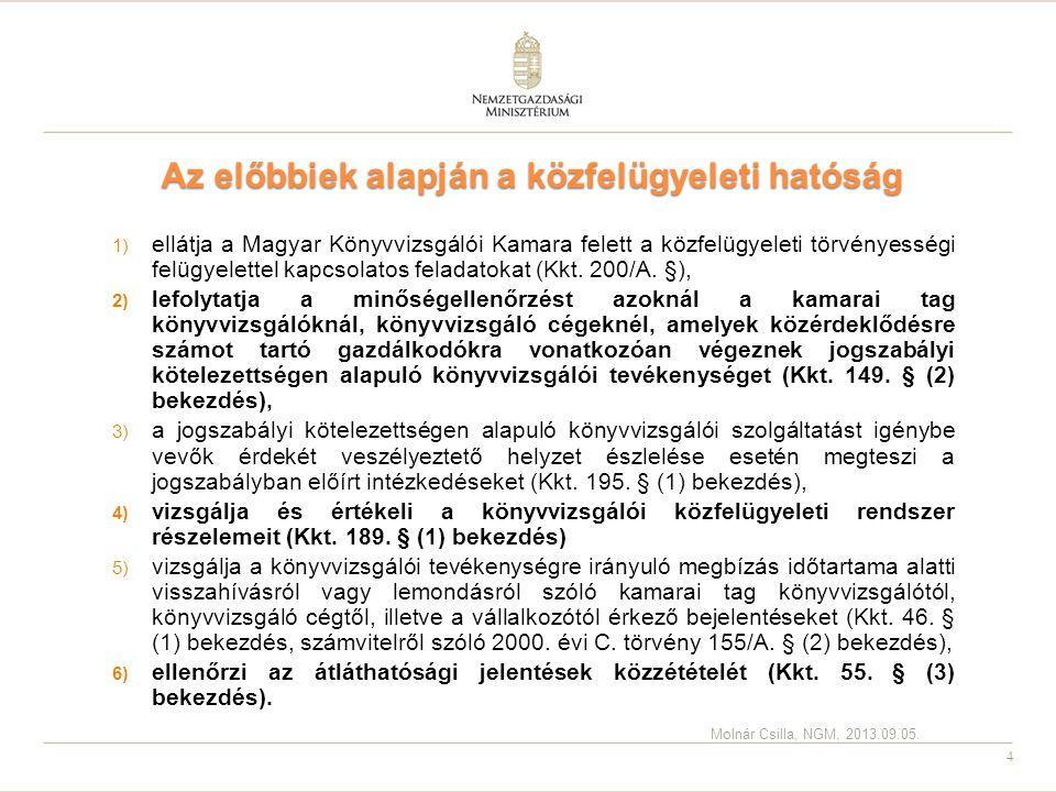 4 Az előbbiek alapján a közfelügyeleti hatóság 1) ellátja a Magyar Könyvvizsgálói Kamara felett a közfelügyeleti törvényességi felügyelettel kapcsolat