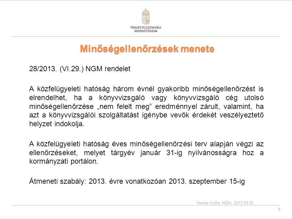 6 Minőségellenőrzések menete 28/2013. (VI.29.) NGM rendelet A közfelügyeleti hatóság három évnél gyakoribb minőségellenőrzést is elrendelhet, ha a kön
