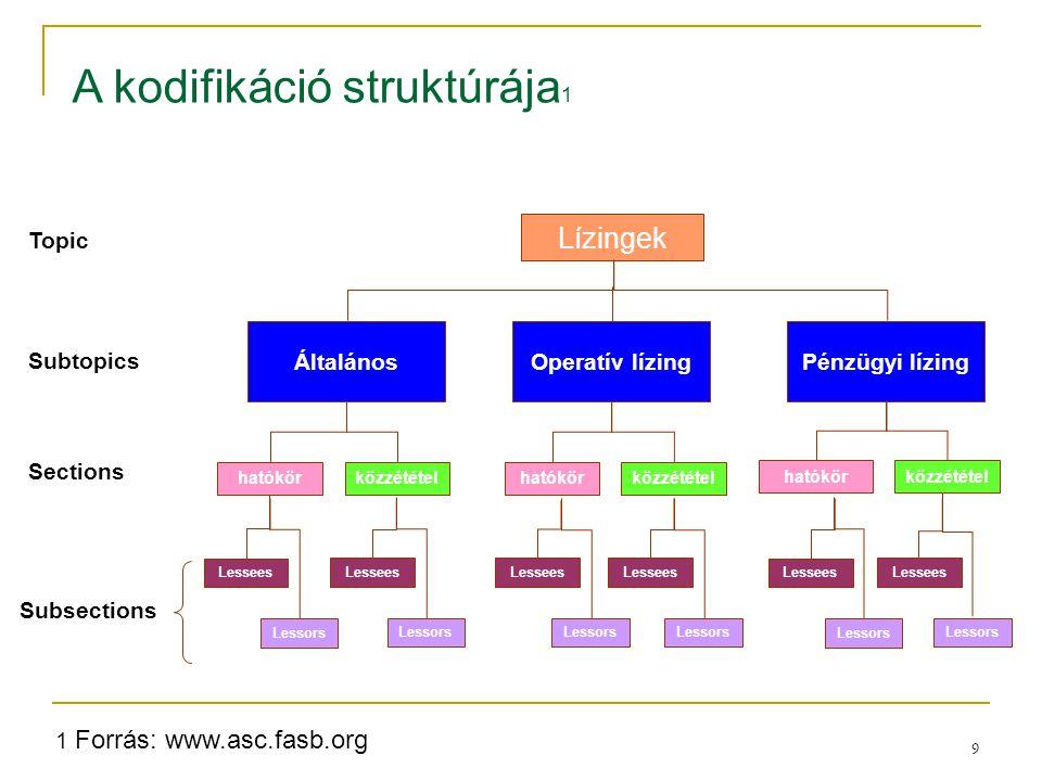 9 Topic Subtopics Sections Subsections Lízingek hatókörközzététel hatókör közzététel Pénzügyi lízingOperatív lízingÁltalános Lessees Lessors Lessees L