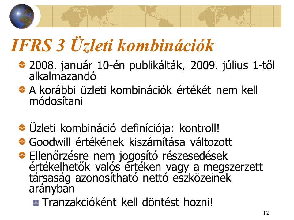 12 IFRS 3 Üzleti kombinációk 2008. január 10-én publikálták, 2009. július 1-től alkalmazandó A korábbi üzleti kombinációk értékét nem kell módosítani