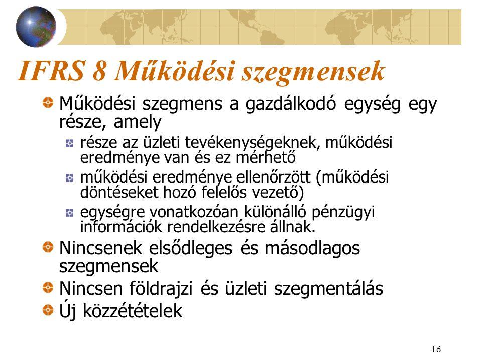 16 IFRS 8 Működési szegmensek Működési szegmens a gazdálkodó egység egy része, amely része az üzleti tevékenységeknek, működési eredménye van és ez mé
