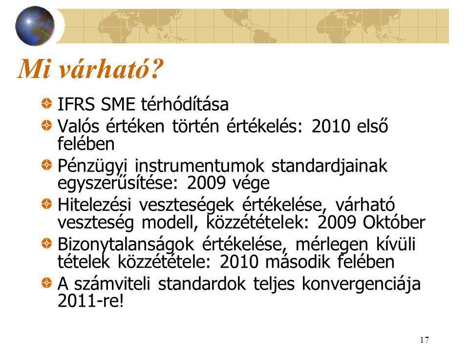 17 Mi várható? IFRS SME térhódítása Valós értéken történ értékelés: 2010 első felében Pénzügyi instrumentumok standardjainak egyszerűsítése: 2009 vége