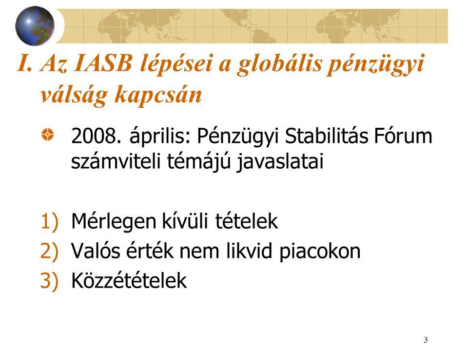 3 I. Az IASB lépései a globális pénzügyi válság kapcsán 2008. április: Pénzügyi Stabilitás Fórum számviteli témájú javaslatai 1)Mérlegen kívüli tétele