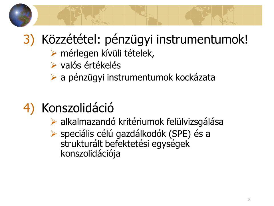 5 3)Közzététel: pénzügyi instrumentumok!  mérlegen kívüli tételek,  valós értékelés  a pénzügyi instrumentumok kockázata 4)Konszolidáció  alkalmaz