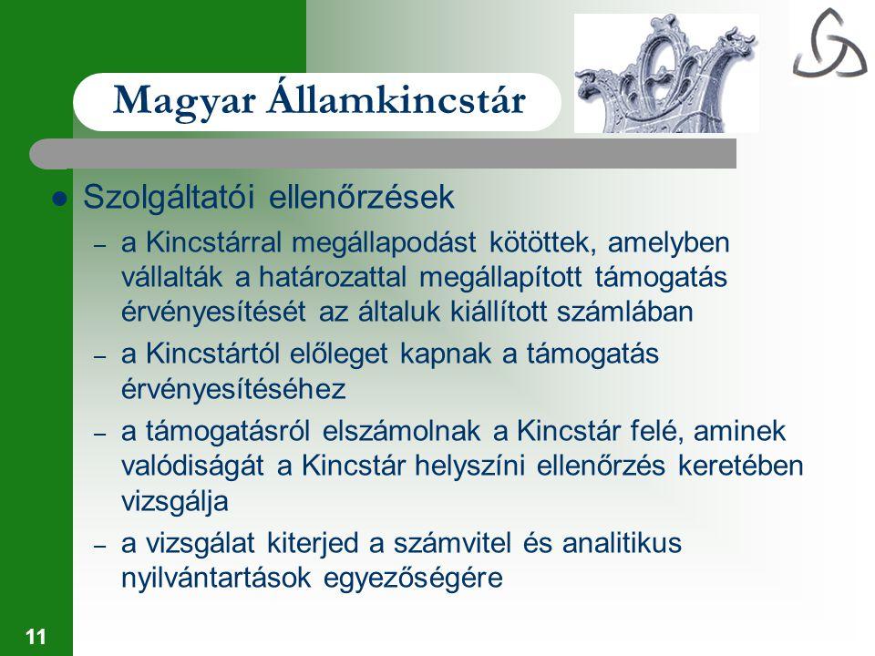 11 Magyar Államkincstár Szolgáltatói ellenőrzések – a Kincstárral megállapodást kötöttek, amelyben vállalták a határozattal megállapított támogatás ér