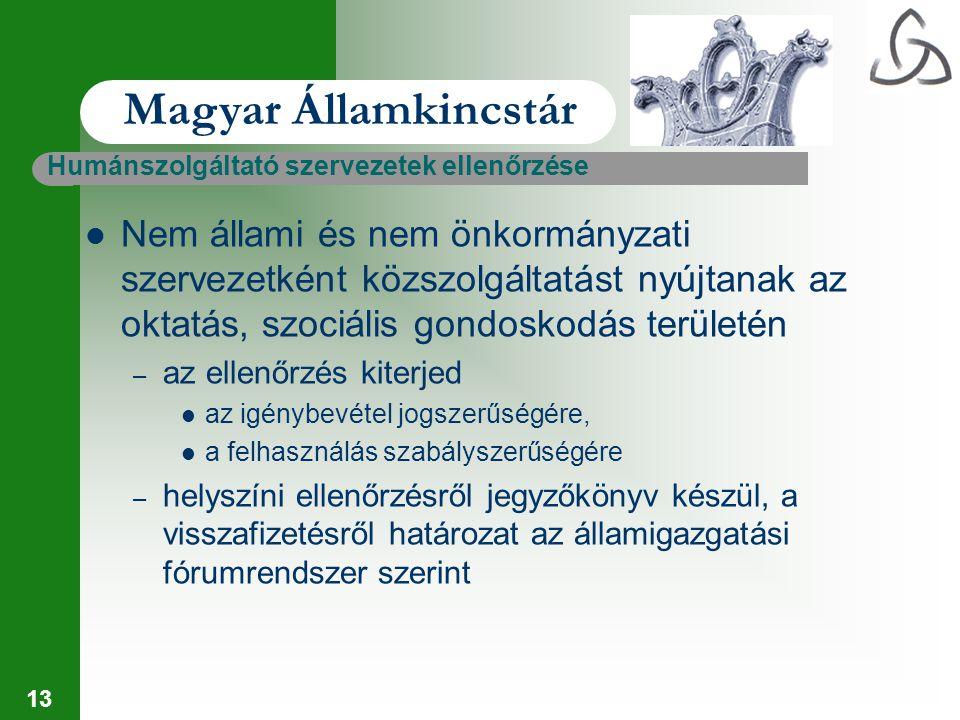 13 Magyar Államkincstár Humánszolgáltató szervezetek ellenőrzése Nem állami és nem önkormányzati szervezetként közszolgáltatást nyújtanak az oktatás,