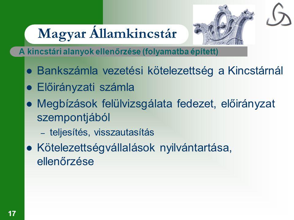 17 Magyar Államkincstár A kincstári alanyok ellenőrzése (folyamatba épített) Bankszámla vezetési kötelezettség a Kincstárnál Előirányzati számla Megbí