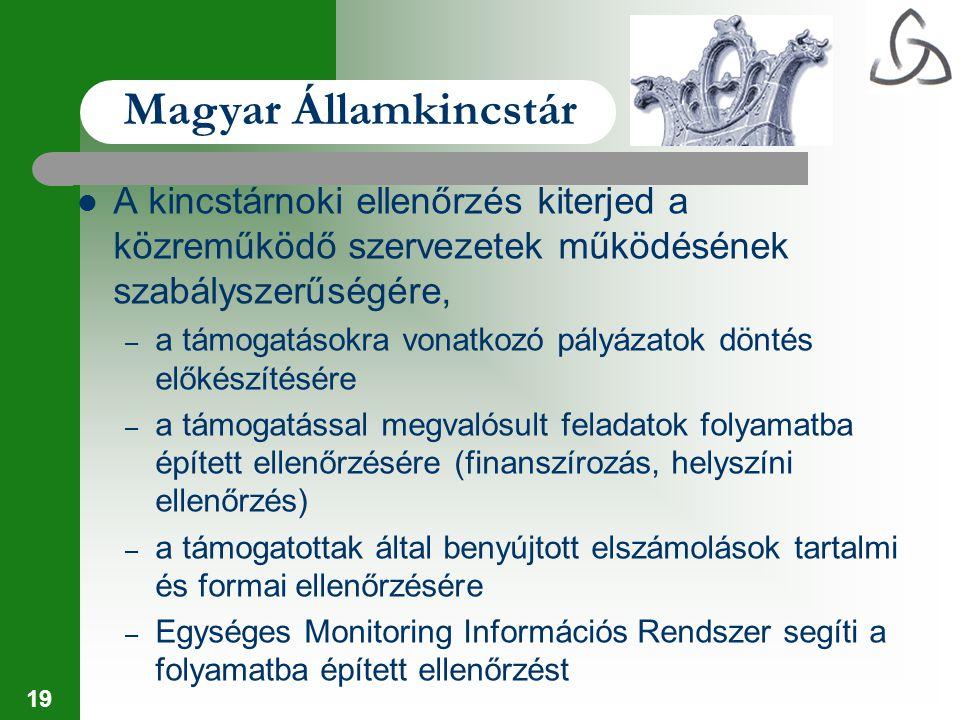 19 Magyar Államkincstár A kincstárnoki ellenőrzés kiterjed a közreműködő szervezetek működésének szabályszerűségére, – a támogatásokra vonatkozó pályá