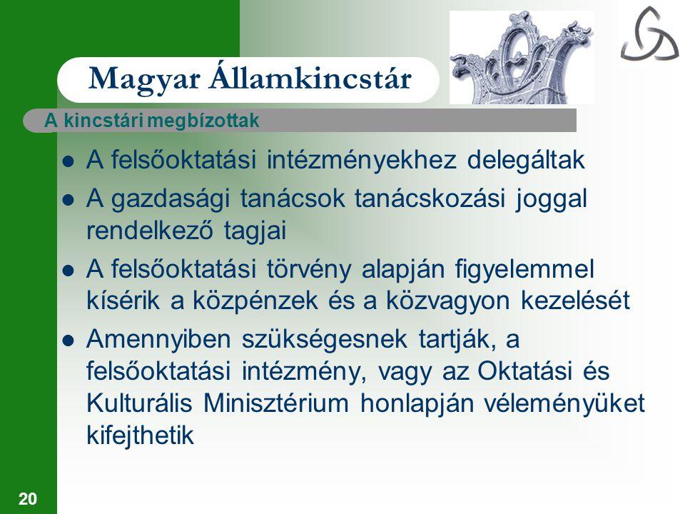 20 Magyar Államkincstár A kincstári megbízottak A felsőoktatási intézményekhez delegáltak A gazdasági tanácsok tanácskozási joggal rendelkező tagjai A
