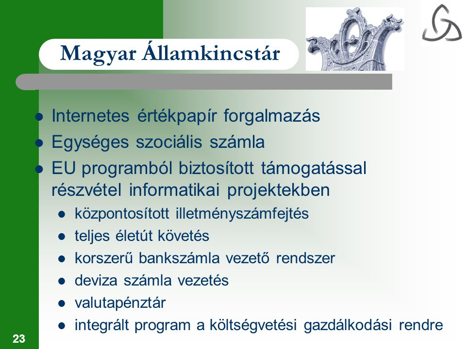23 Internetes értékpapír forgalmazás Egységes szociális számla EU programból biztosított támogatással részvétel informatikai projektekben központosíto