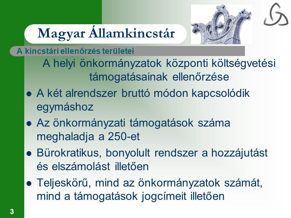 4 Magyar Államkincstár A felülvizsgálat az igénybevétel jogszerűségének ellenőrzésével indul – objektív feladat- és teljesítménymutatók alapján – normatív alapon – az igénybejelentések és a Kincstár rendelkezésére álló információk alapján – pótigénylés és lemondás lehetősége adott – cél az, hogy a jogtalan igénybevételek már ebben a szakaszban kerüljenek kiszűrésre – nem alakult ki a helyi önkormányzatok és intézményeik között megfelelő információs rendszer