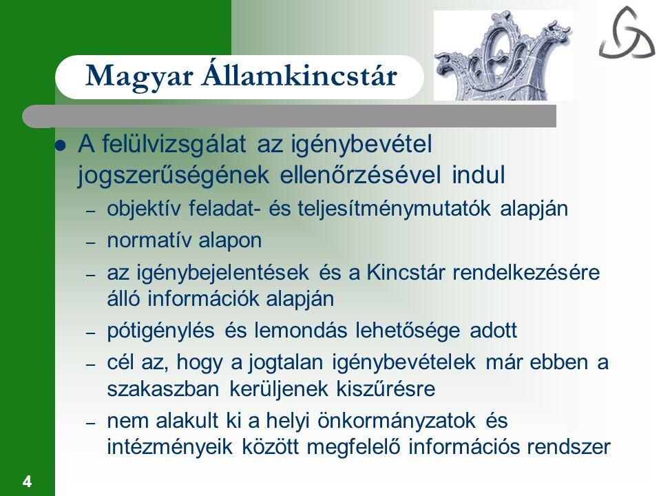 4 Magyar Államkincstár A felülvizsgálat az igénybevétel jogszerűségének ellenőrzésével indul – objektív feladat- és teljesítménymutatók alapján – norm