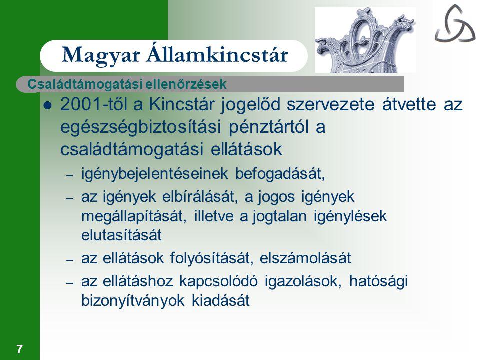 7 Magyar Államkincstár Családtámogatási ellenőrzések 2001-től a Kincstár jogelőd szervezete átvette az egészségbiztosítási pénztártól a családtámogatá