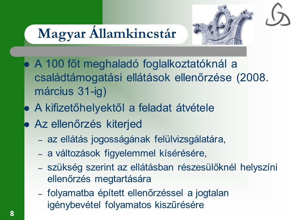 19 Magyar Államkincstár A kincstárnoki ellenőrzés kiterjed a közreműködő szervezetek működésének szabályszerűségére, – a támogatásokra vonatkozó pályázatok döntés előkészítésére – a támogatással megvalósult feladatok folyamatba épített ellenőrzésére (finanszírozás, helyszíni ellenőrzés) – a támogatottak által benyújtott elszámolások tartalmi és formai ellenőrzésére – Egységes Monitoring Információs Rendszer segíti a folyamatba épített ellenőrzést