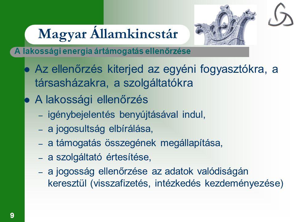 10 Magyar Államkincstár Társasházi ellenőrzések – együttes fogyasztói helyként jelenik meg, – a lakók között a közös képviselő végzi el a megosztást, – a közös képviselő gondoskodik a lakosságot megillető támogatás megállapításáról, – a Kincstár határozata alapján érvényesíti a közös képviselő a támogatást a szolgáltatói számlák alapján – az ellenőrzés kiterjed a megosztás, az igénylés és elszámolás jogszerűségére, szabályszerűségére
