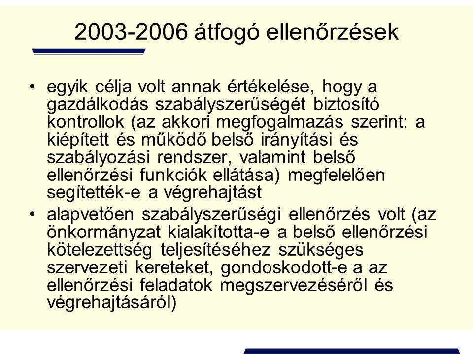 2003-2006 átfogó ellenőrzések egyik célja volt annak értékelése, hogy a gazdálkodás szabályszerűségét biztosító kontrollok (az akkori megfogalmazás sz