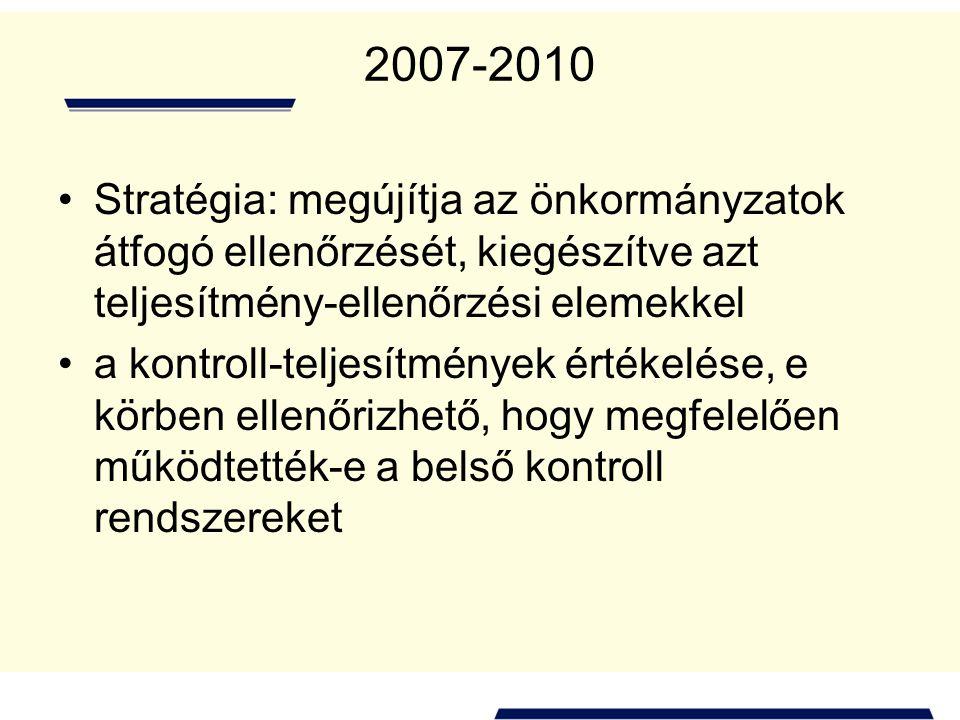 2007-2010 Stratégia: megújítja az önkormányzatok átfogó ellenőrzését, kiegészítve azt teljesítmény-ellenőrzési elemekkel a kontroll-teljesítmények ért