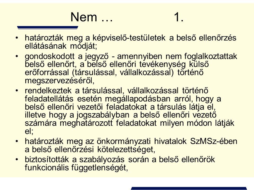 Nem … 1. határozták meg a képviselő-testületek a belső ellenőrzés ellátásának módját; gondoskodott a jegyző - amennyiben nem foglalkoztattak belső ell