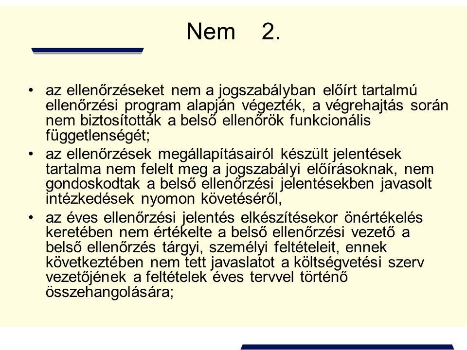 Nem 2. az ellenőrzéseket nem a jogszabályban előírt tartalmú ellenőrzési program alapján végezték, a végrehajtás során nem biztosították a belső ellen