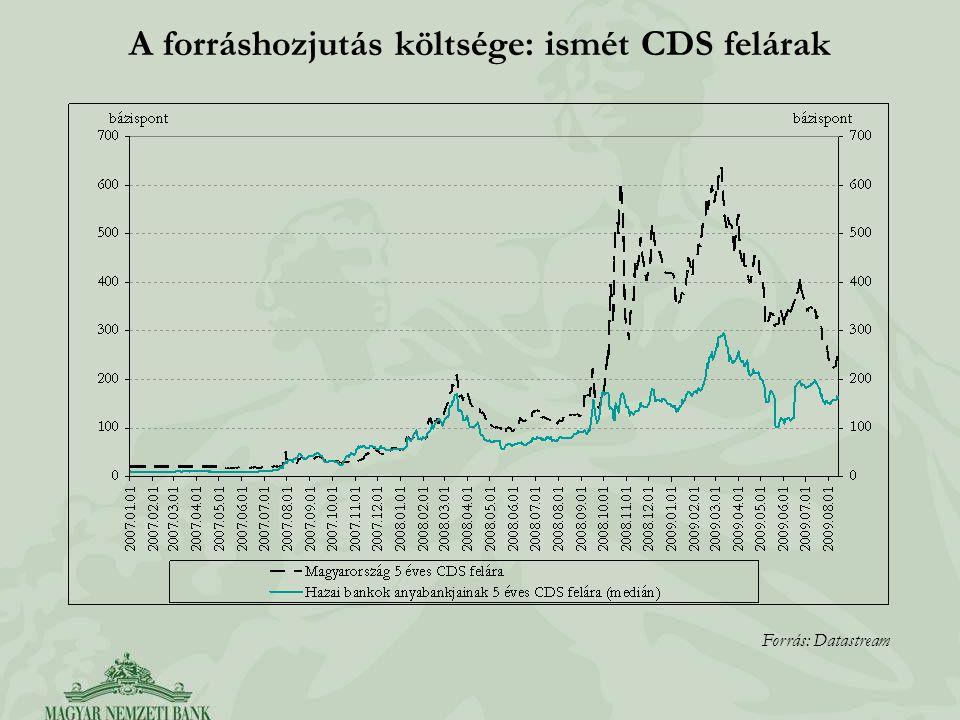 A forráshozjutás költsége: ismét CDS felárak Forrás: Datastream