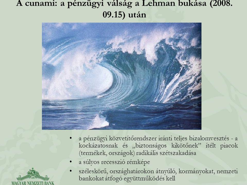 """A cunami: a pénzügyi válság a Lehman bukása (2008. 09.15) után a pénzügyi közvetítőrendszer iránti teljes bizalomvesztés - a kockázatosnak és """"biztons"""