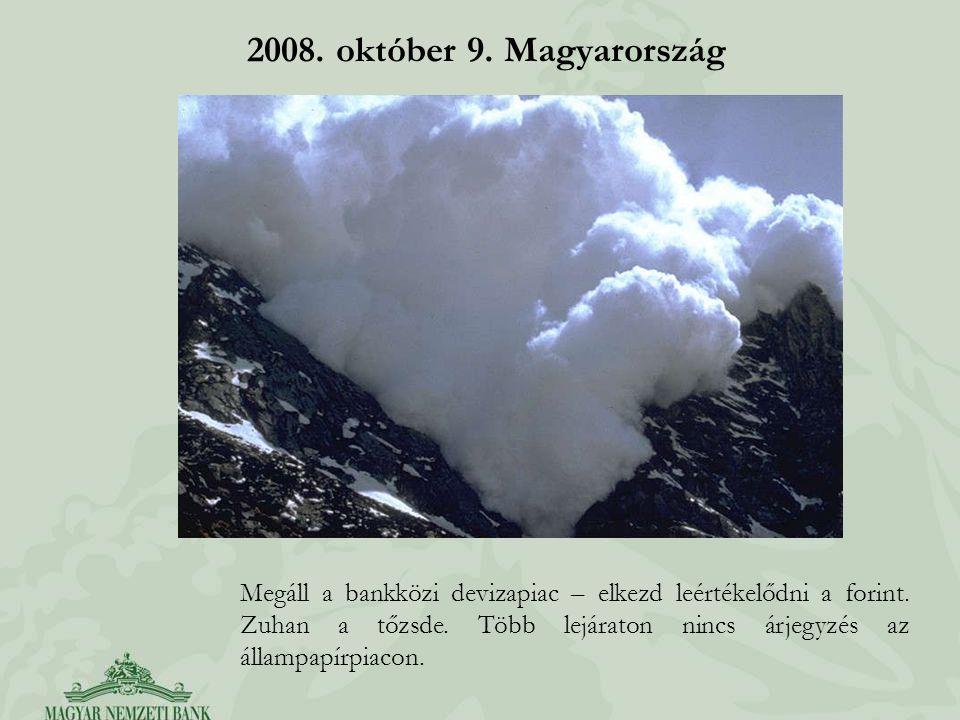 2008. október 9. Magyarország Megáll a bankközi devizapiac – elkezd leértékelődni a forint. Zuhan a tőzsde. Több lejáraton nincs árjegyzés az állampap