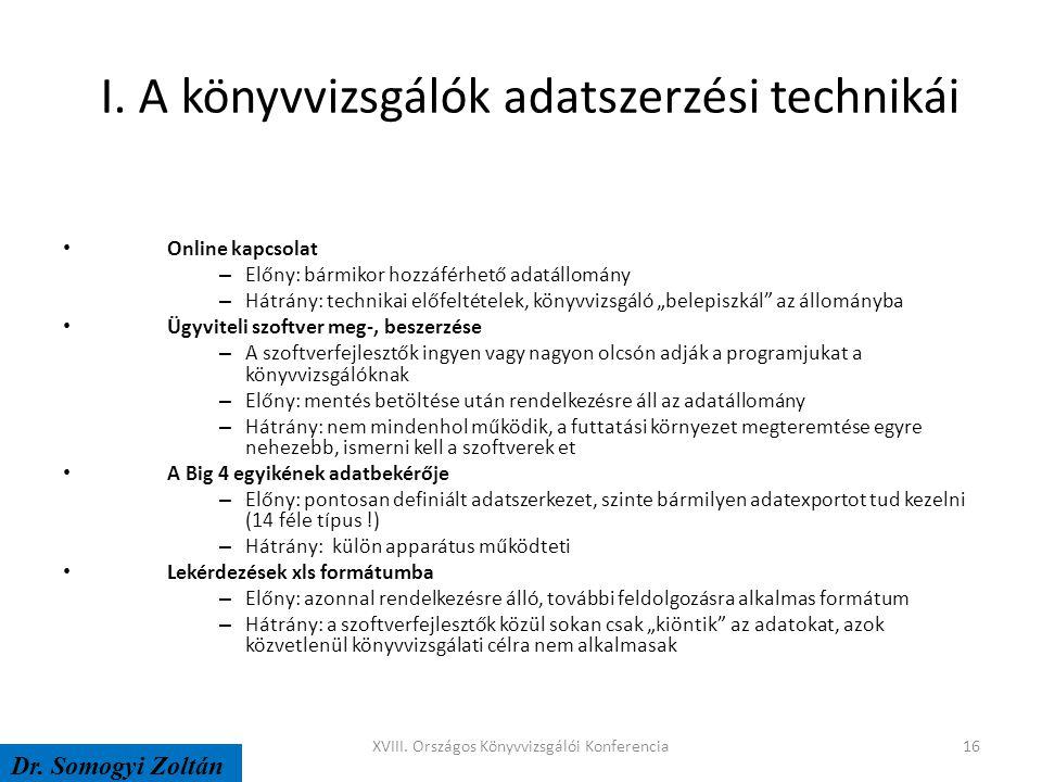 I. A könyvvizsgálók adatszerzési technikái Online kapcsolat – Előny: bármikor hozzáférhető adatállomány – Hátrány: technikai előfeltételek, könyvvizsg
