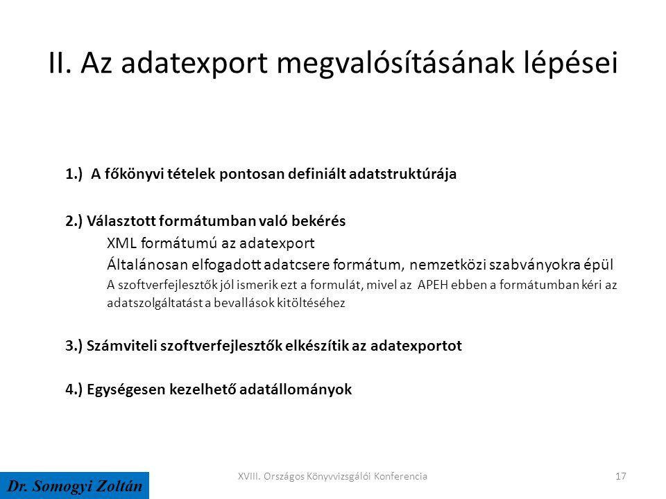 II. Az adatexport megvalósításának lépései 1.) A főkönyvi tételek pontosan definiált adatstruktúrája 2.) Választott formátumban való bekérés XML formá