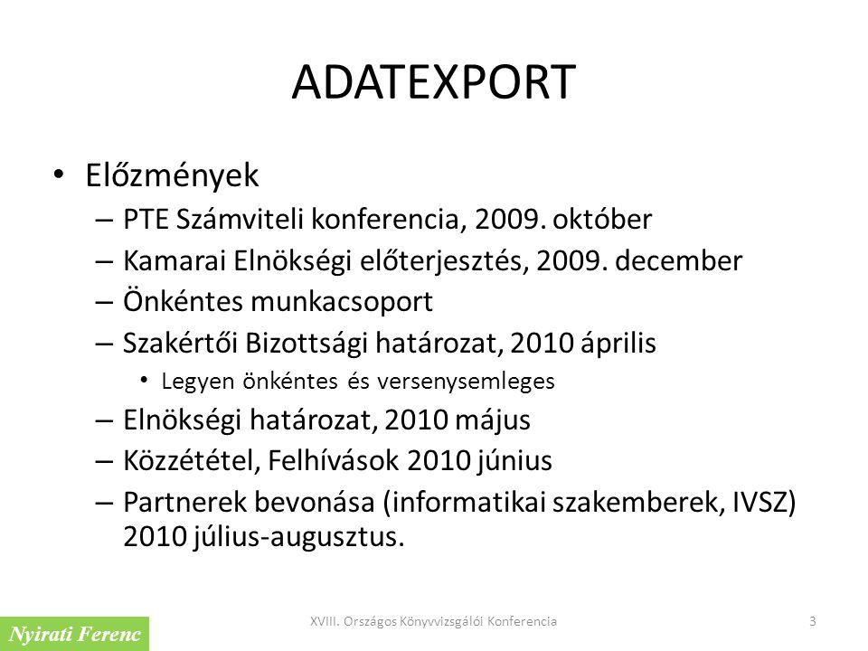 ADATEXPORT Előzmények – PTE Számviteli konferencia, 2009. október – Kamarai Elnökségi előterjesztés, 2009. december – Önkéntes munkacsoport – Szakértő