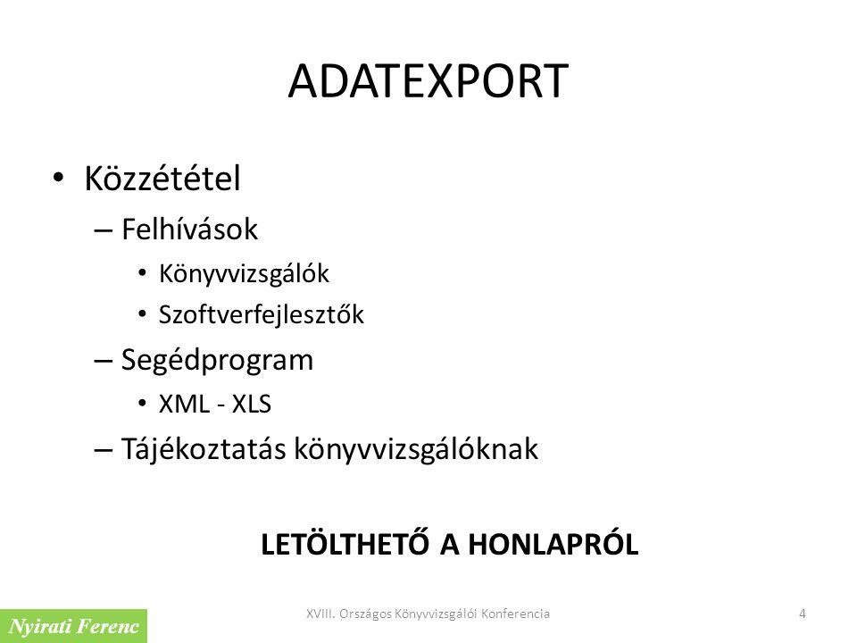 ADATEXPORT Közzététel – Felhívások Könyvvizsgálók Szoftverfejlesztők – Segédprogram XML - XLS – Tájékoztatás könyvvizsgálóknak LETÖLTHETŐ A HONLAPRÓL