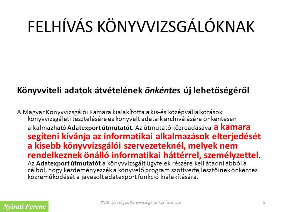 FELHÍVÁS KÖNYVVIZSGÁLÓKNAK Könyvviteli adatok átvételének önkéntes új lehetőségéről A Magyar Könyvvizsgálói Kamara kialakította a kis-és középvállalko