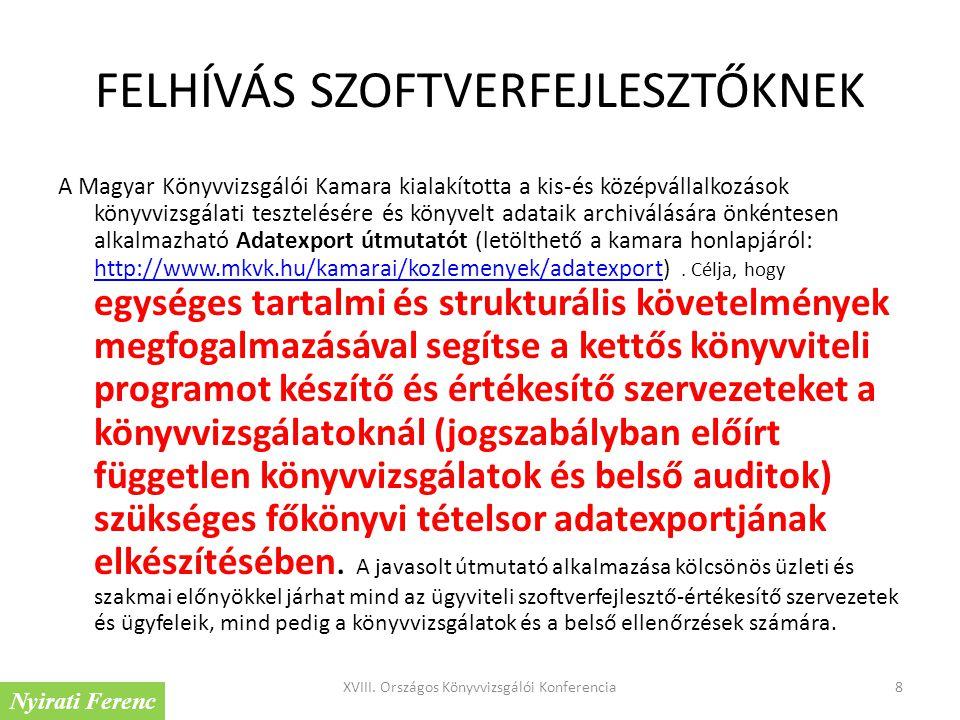 FELHÍVÁS SZOFTVERFEJLESZTŐKNEK A Magyar Könyvvizsgálói Kamara kialakította a kis-és középvállalkozások könyvvizsgálati tesztelésére és könyvelt adatai