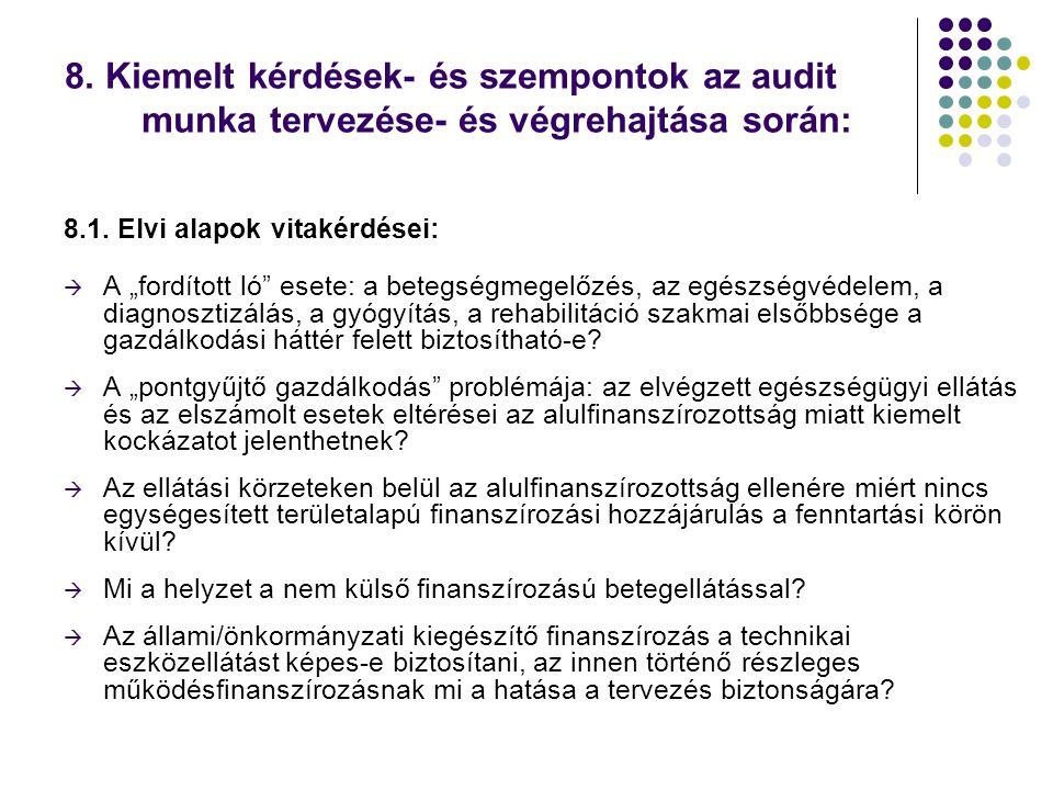 8. Kiemelt kérdések- és szempontok az audit munka tervezése- és végrehajtása során: 8.1.